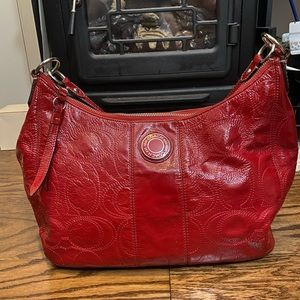 Coach Red Patent Leather Shoulder Bag